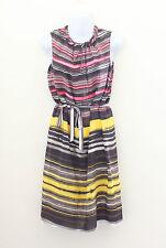 Knee Length Stripes 100% Silk Dresses for Women