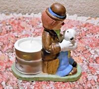 Jasco Happy Hobo Fine Bisque Porcelain 1983 Candle Holder with Candle