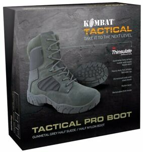ARMY TACTICAL PRO BOOTS SIDE ZIP MENS UK 5-12 SUEDE GUN METAL GREY FOOTWEAR