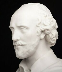 William Shakespeare Bust, English Poet and playwright. Marble Sculpture, Gift.