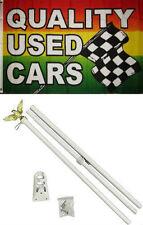 3x5 Advertising Quality Used Cars Flag White Pole Kit Set 3'x5'