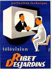 Affiche ancienne vintage Radio  Ribet des Jardins 1954 signée BYDO