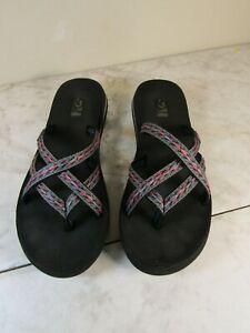 Teva Olowahu Mush Sandals Flip Flop Black/Neon Pink/Teal Women's Size 8