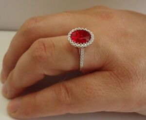 925 STERLING SILVER LADIES RING W/ 4 CT LAB DIAMOND& RUBY /SIZE 5 TO 9 AVAILABLE