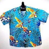 Kennington Ltd Vintage Floral Hawaiian Aloha Shirt Large Blue
