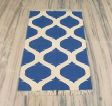 2.5x4 Feet Geometric Cotton Reversible Small Rug Blue Color Modern Mat DN- 2078
