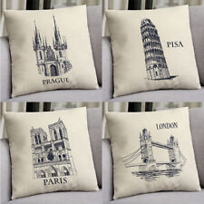 18''  World Wonders Cotton Linen Pillow Case Cushion Cover Sofa Home Decor