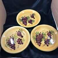 "Set of 3 TUSCANOY GRAPE Casa Vero by ACK 9-1/2"" Dinner Plates"