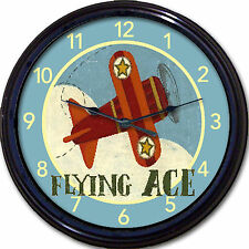 Airplane Flying Ace Wall Clock Child transportation Nursery Airplanes aviation