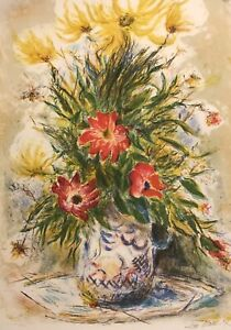 IRA MOSKOWITZ Hand Signed Numbered FLORAL Lithograph Vintage Art Flowers Arches