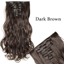 Clip in 8 Pieces 100% Thick as Human Hair Extensions Full Head Dark Ombre HUM