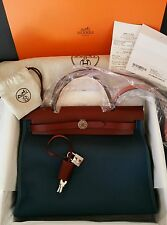 100% Authentic NWT Hermes Herbag with box, Blue/Rouge 31cm
