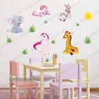 Jungle Animal Zebra Giraffe Zoo Baby Unicorn Wall Stickers Girls Nursery Decal