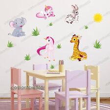 Animale giungla Zebra Giraffe ZOO BABY UNICORNO Adesivi Da Parete Ragazze Decalcomania Vivaio