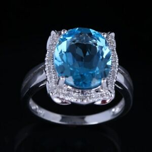 Real 14K White Gold Swiss Blue Topaz Diamonds Wedding Party Ring 10x12mm Oval