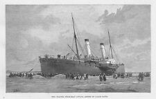 The Channel Steam Boat Invicta, Ashore on Calais Sands - Antique Print 1888