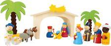 Holzkrippe Spielset Krippe für Kinder aus Holz Weihnachten Figuren Spielwelt Neu