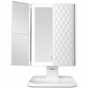 Tri-Fold Vanity Makeup Mirror 72 LED Lighted Magnifying Folding Cosmetic Mirrors