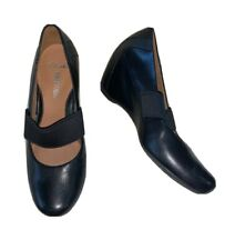 Clarks Ladies Shoes  7 D Mary Jane Wedge Black Leather Soft wear