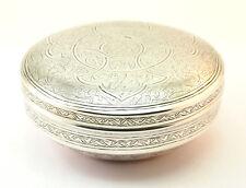 C1943, di ottima qualità inciso egiziano 900 Argento Ciotola con coperchio, rotonda Ciondolo Box