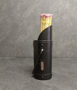 Long match stick holder in black with matches