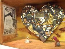 Old West Folk Art Assemblage Heart Box Sculpture Found Object Reclaimed Dog
