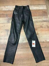 Attractive Unisex Cowhide Black Leather Motorcycle Pants/Jeans 756-OO #0124