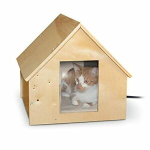 K&H Pet Products Thermo Birchwood Manor Kitty Home Heated Real Birchwood 18 X...