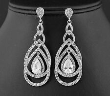 Loops Austrian Rhinestone Crystal CZ Chandelier Dangle Earrings Wed E3512 Silver