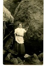Young Lady Poses by Huge Rock Boulder-Apron ?-RPPC-Vintage Real Photo Postcard