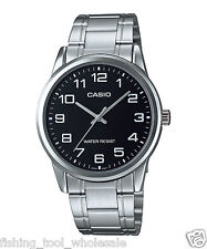 MTP-V001D-1B Black Casio Men's Watch Stainless Steel Band Water Resistant New