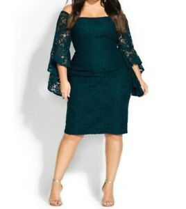 City Chic Mystic Lace Dress Xs Emerald