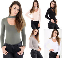 Womens Long Sleeve Basic Ladies Stretch Leotard Choker Bodysuit High Neck Top