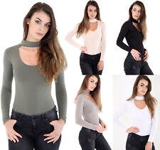 Womens Long Sleeve Basic Ladies Stretch Leotard Choker Bodysuit High Neck Top