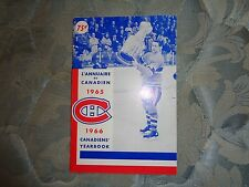 1965-66 MONTREAL CANADIENS MEDIA GUIDE YEARBOOK Press Book 65+ 1966 NHL CHAMP AD
