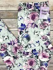 PLUS Size Purple Pink Rose Leggings Floral Flower Printed Curvy 10-18