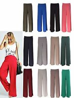 Lz58 Women's  Plain Palazzo Wide Leg Flared Ladies Trousers Pants 8-14