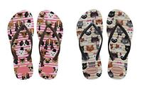 Havaianas Slim Pets CF Shocking Pink Sand Grey Women Flip Flops All Sizes