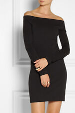 New $615 The Row Hunting Off Shoulder Long Sleeve Mini Dress in Black sz S