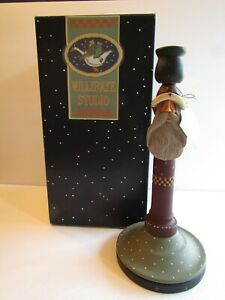 "NOS Williraye Studio G  Folk Art Santa Candlestick Holder WW2226 12"" Vintage"