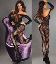 Sexy fishnet crotchless bodystocking sleeved bodysuit nightwear one size / 6-14