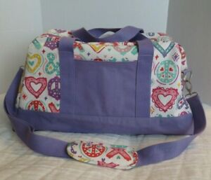 Pottery Barn PB Teen Girls Duffle Sleepover Bag  X O Heart Peace Luggage