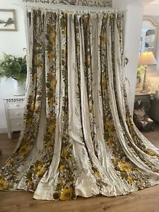 Antique Vintage Yellow Green Floral Large Curtain 88w 97.5d