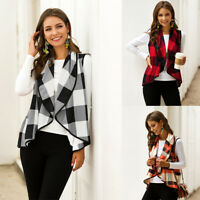 S-2XL Women Sleeveless Plaid Check Fashion Vest Jacket Cardigan Blouse Top 2019