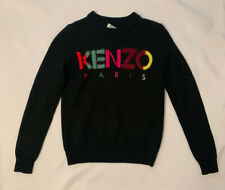 Kenzo Womens Black Sweater With Colorful Logo Size Xs