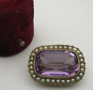 Antique 19th Century Victorian Era Pinchbeck Gold, Pearl & Amethyst Paste Brooch