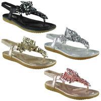 Womens Ladies Elastic Strap Comfy Flat Bling Summer Peep-toe Sandals Shoes Sizes