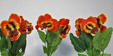 Pack of 3 Artificial Pansy Spray Orange 30 cm Spring and Summer fake flower stem