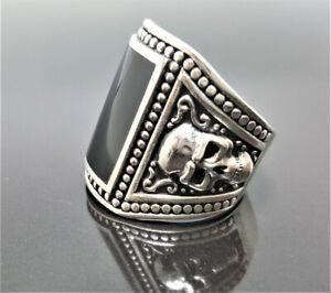 Sterling Silver 925 Black Onyx Skull Ring Biker Rocker goth punk ELIZ