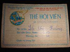 Socialist Republic Of Vietnam WOMEN'S UNION Club Membership ID Card Year 1980